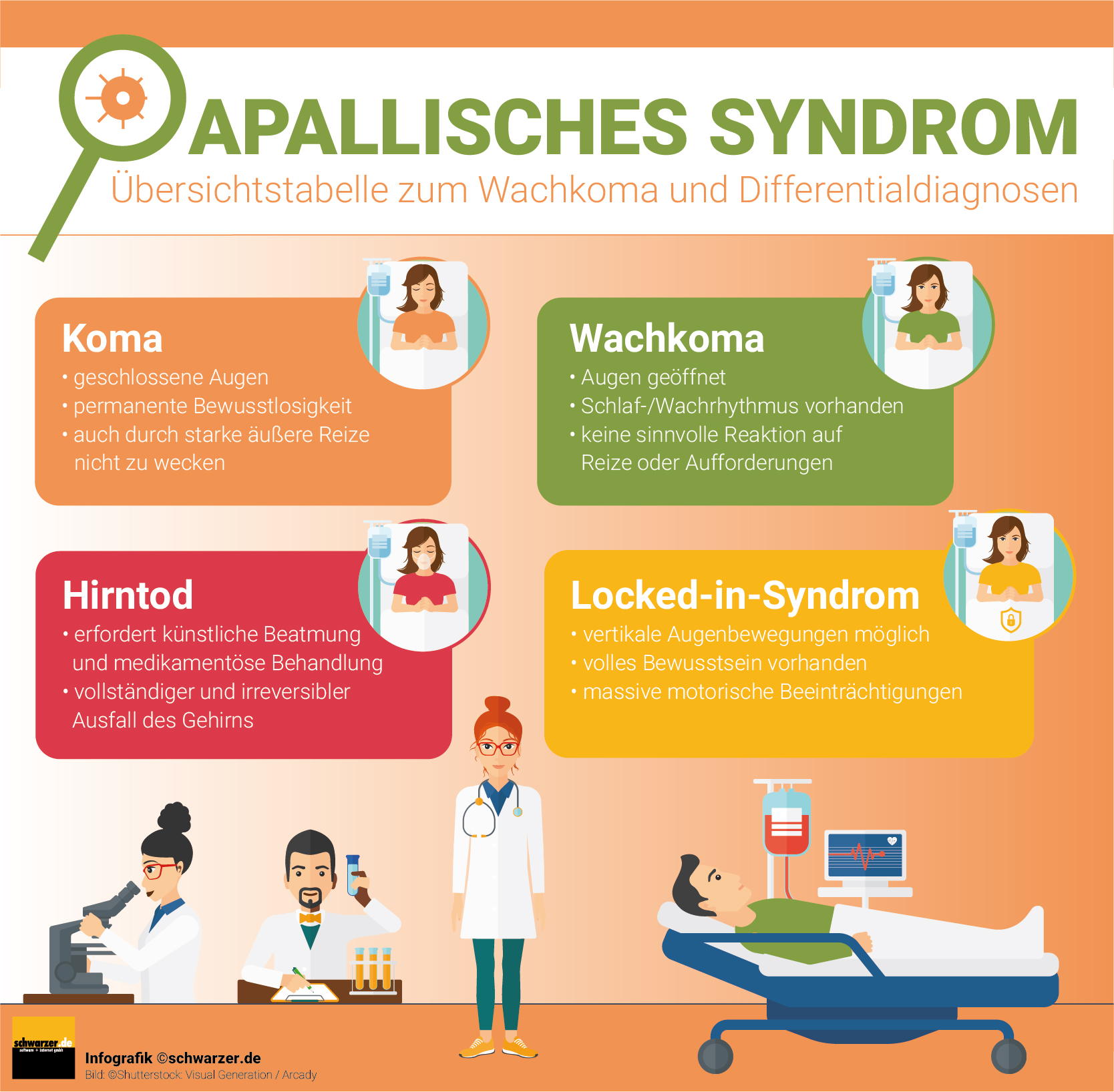 Infografik: Übersichtstabelle zum Apallischen Syndrom, Wachkoma und mögliche Differentialdiagnosen.